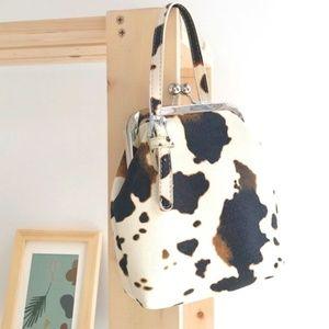 Handbags - Cow Print Handbag Cross-Body Snap Closure
